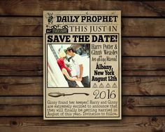 Custom Harry Potter Save The Date //The Daily Prophet// Digital File