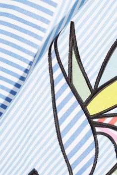 Mira Mikati - Bird Of Paradise Appliquéd Striped Cotton-twill Midi Dress - Light blue - FR34