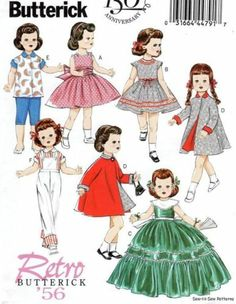 """Butterick B5865 SEWING PATTERN Retro/Vintage 18"""" Doll Clothe Dress/Gown Coat 50s   eBay"""