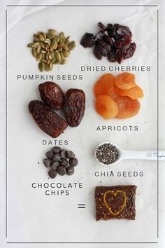 Apricot Cherry Snack Bars ~  :: INGREDIENTS :: ⅔ cup dates, pits removed ⅔ cup dried apricots ⅔ cup dried cherries 1 cup unsalted (raw or dry roasted) pumpkin seeds  1-2 Tbsp chia seeds (optional) 3-4 Tbsp chocolate chips (optional) pinch salt