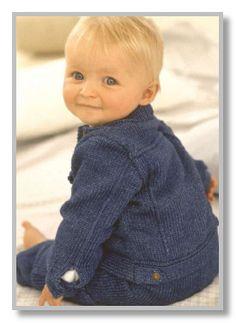 Вязание спицами. Джинсовый костюм: курточка и штанишки. Размеры: на 3-6 (6-9) (9-12) (12-18) месяцев