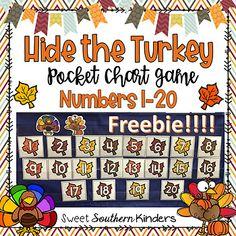 Hide the Turkey Pocket Chart Game Numbers Thanksgiving Preschool, Fall Preschool, Preschool Learning, Kindergarten Classroom, Preschool Crafts, Math Activities, Preschool Activities, Teaching, Holiday Activities