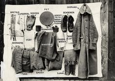 The Great War. First World War: English soldiers kit, a survey of the clothing. 1915.