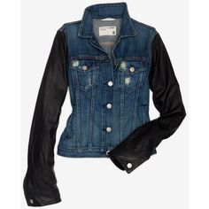 Rag & Bone/Jean Rag & Bone/Jean Exclusive Leather Sleeve Denim Jacket ($550) ❤ liked on Polyvore