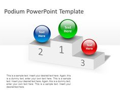 Free Podium PowerPoint Template is a free PowerPoint template with a Podium shape in the slide design that you can download to make awesome presentations on awards and prizes but also compare goals and objectives with competitors