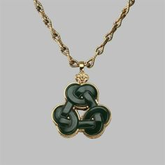 Bespoke Triskelion gold and bloodstone Love Knot pendant necklace custom made by Stephen Einhorn for Angelina Jolie's Maleficent film character
