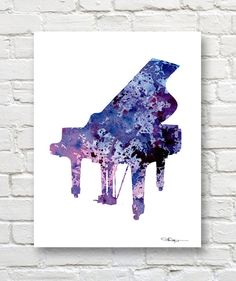 Piano Art Print Abstract Watercolor Painting by 1GalleryAbove