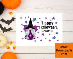 Halloween Gnome Cards, Halloween Cards for Girlfriends, Printable Digital Download, Happy Halloween Gnomie Halloween Cards, Happy Halloween, Printable Cards, Gnomes