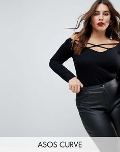 ASOS CURVE Off Shoulder Top with Caging Detail and Long Sleeves