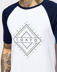 Image 3 ofASOS Muscle T-Shirt With Contrast Raglan Sleeves And Tokyo Print