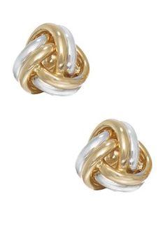 14K Two-Tone Gold Love Knot Stud Earrings