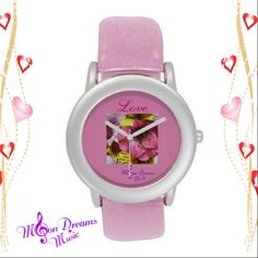"""""""Love and Flowers"""" Pink Glitter Strap Watch #love #pink #glitter #watch #zazzle #valentine #ValentinesDay #pretty #flowers #moondreamsmusic"""