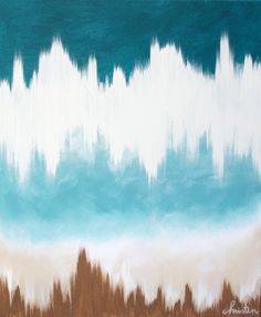 abstract art 20x24 original canvas painting in teal aqua brown white . nautical beach landscape. $125.00, via Etsy.