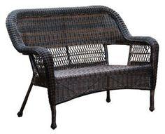 Dark Brown Wicker Outdoor Patio Bench Settee