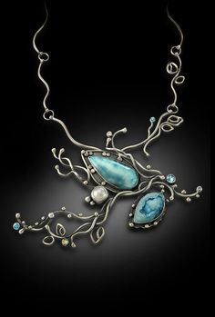 Multi-Stone Necklace of Larimar, Blue Druzy Agate, Freshwater Pearl and Topaz Bonnie Hedden Designs
