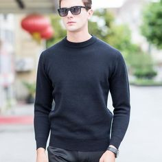 knitted pullovers Sweaters man,plus size 3XL O neck Black Clothing, Man's casual Sweater free ship 100% wool