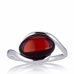 Amber Solitaire Ring Sterling Silver - Red