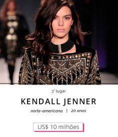 kendall jenner 3 lugar ranking modelos mais bem pagas do mundo 2016