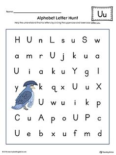 Alphabet Letter Hunt: Letter U Worksheet (Color) Worksheet.The Alphabet Letter Hunt: Letter U in Color is a fun activity that helps students practice recognizing the uppercase and lowercase letter U. Letter Worksheets For Preschool, Preschool Letters, Kindergarten Worksheets, Alphabet Worksheets, Alphabet Activities, Printable Worksheets, Handwriting Worksheets, Handwriting Practice, Writing Activities