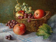 Натюрморт яблоки и виноград - Схемы вышивки - FroKsa