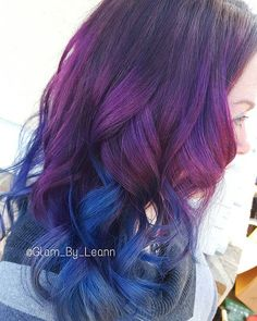 Purple and blue ombre! Fun haircolor by joico intensity!  #glambyleann