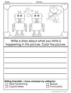 Story Starter for February/Valentine's Day - EVERYTHING you need to set up your writing center in February!