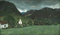The Athenaeum - Ålhus Vicarage and Church (Nicolai Astrup - ) Romanticism Paintings, North Europe, Old Farm, Modern Artists, Old Master, Gouache, Painting Inspiration, Norway, Fine Art