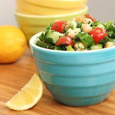 Lemony Chickpea Tabbouleh Salad - A great make-ahead big-batch healthy lunch option.