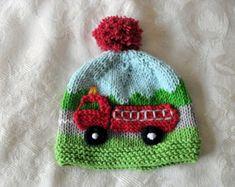 Sombrero tejido de punto bebé sombrero de punto bebé sombrero bebé punto bomberos gorro algodón hecho punto del bebé sombrero del bebé sombrero del carro de fuego