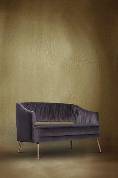 STOLA Sofa by @BRABBU | Modern Sofas. Velvet Sofa. Living Room Ideas. #modernsofas #velvetsofas #livingroomsofa Discover more: https://www.brabbu.com/en/upholstery/stola-2-seat-sofa/
