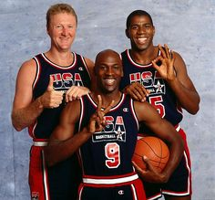 Larry Bird, Michael Jordan and Magic Johnson