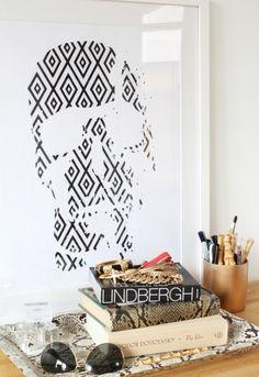 skull pattern print. black and white    http://www.madebygirl.com/?product|28