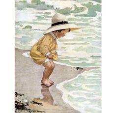 Beach Fabric Block Toddler by the Sea   Repro Jessie Wilcox Smith