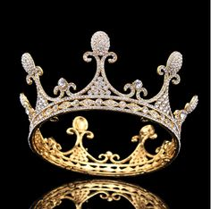 1/2 Inch Height Gold&Silver Tone Royal Keen Queen Clear Crystal Headpiece tiaras Party Hair Full Round Crown