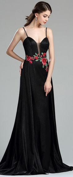eDressit Sexy Floral Embroidery Long Black Evening Dress