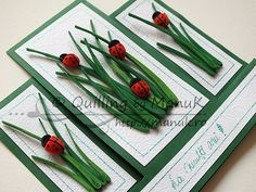 Birthday Greeting Card with Quilled Ladybugs and Grass - bjl