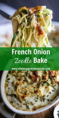 Low Carb Recipes french onion zoodle bake recipe www. - French Onion Zoodle Bake has all the flavors of the classic French soup, but with a healthy, hearty twist! Paleo Recipes, Low Carb Recipes, Vegetarian Zoodle Recipes, Dessert Recipes, Spiralized Veggie Recipes, Picnic Recipes, Vegetarian Lunch, Baking Recipes, Pescatarian Recipes