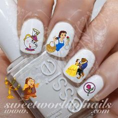 Beauty and The Beast Nail Art Belle Beast Nail Water Decals Slides - Child Beauty And The Beast Nails, Beauty Nails, Pretty Nail Art, Cute Nail Art, Princess Nail Art, Mickey Mouse Nail Art, Belle Nails, Frozen Nails, Nail Water Decals