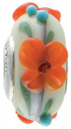Fenton Art Glass Artisan Crafted Bead - Clarkia - Sterling Silver Lined