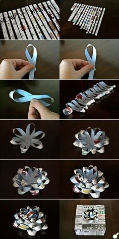 How to make gift bows (cute!) Great for my origami loving son Holiday Crafts, Fun Crafts, Diy And Crafts, Arts And Crafts, Diy Paper, Paper Crafting, Paper Bows, Paper Ribbon, Paper Flowers