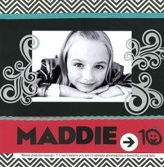 Maddie Layout using Swirls die by Lifestyle Crafts.  Alphabet die is Blue Sky. #scrapbook