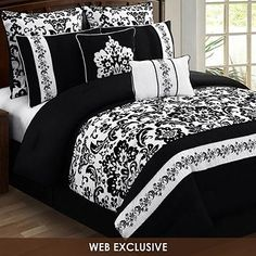 Black and White Bedding Sets For Your Dramatic Bedroom - Home to Z White Bedding, White Bedroom, Dream Bedroom, Master Bedroom, Bedroom Decor, Damask Bedroom, Bedroom Ideas, Love Is In The Air, Queen Comforter Sets