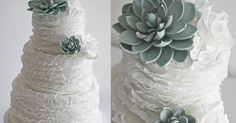 A ruffle wedding cake topped with sugar succulents and white sugar roses, made for my brothers wedding at Artisan restaurant , alon...