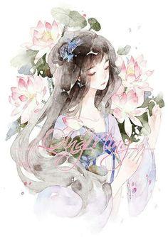 Kawaii Anime Girl, Anime Art Girl, Manga Art, Cartoon Drawings, Art Drawings, Art Sketches, Cute Little Drawings, Chinese Cartoon, China Art