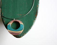 Recycled Skateboard Necklace-Eco Rainbow