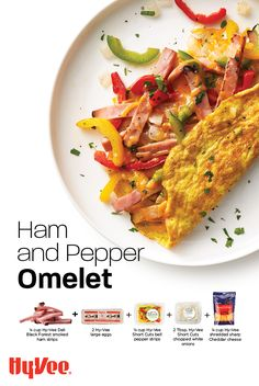 Uncomplicated omelets packed with veggies and Hy-Vee Black Forest ham. Black Forest Ham, White Cheddar Cheese, Homemade Breakfast, Large Egg, How To Cook Eggs, Omelet, Serving Plates, Deli, Brunch