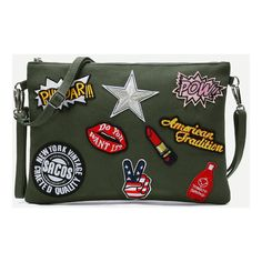 Army Green Embroidered Patches Zip Closure Crossbody Bag (63 BRL) ❤ liked on Polyvore featuring bags, handbags, shoulder bags, green, man bag, shoulder handbags, olive green handbag, handbags crossbody and hand bags