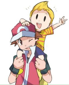 Pokemon Trainer and Lucas.  Such cute partners in Super Smash Bros Brawl (Subspace Emissary).