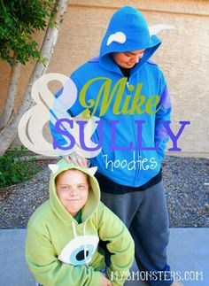 Celebrate #MonstersU with these DIY Mike and Sully Hoodies at my3monsters.com