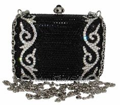 Anthony David Handbag Evening Bag Purse w/ Swarovski Crystals AD13 Black Swarovski Crystal Clutch Purses, Evening Bags, Leather Purses, Jewe...